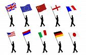 picture of usa flag  - man carrying various flags illustration in vector format - JPG