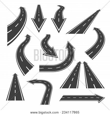 poster of Arrow Road Set. Road Arrows With White Markings, An Illustrations  In A Form Of Various Turns, Direc