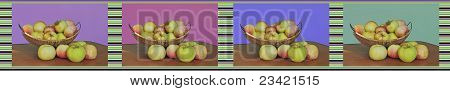 collage of photos with apples