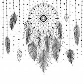 Black And White Hand Drawn Dreamcatcher With Floral Details And Feathers, Vector Illustration, Can B poster