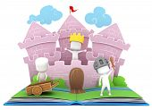 picture of pop up book  - 3D Illustration of Kids Playing in a Castle on a Popup Book - JPG