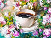 Painting Texture Oil Painting Still Life, A Cup Of Coffee Drink Impressionism Art, Painted Color Ima poster