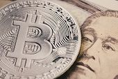 Bitcoin Crypto Currency, Digital Money In Japan Concept, Closed Up Shot Of Physical Coin With B Sign poster
