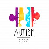 Logo With Symbol Of Autism. Bright-colored Puzzle With Texture. Genetic Disorder. Down Syndrome Them poster