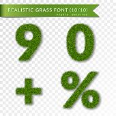 Grass Percent, Nine, Zero, Plus Set. Green Symbols, Isolated On White Transparent Background. Green  poster