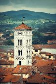 Bell Tower of Basilica di San Michele in Lucca Italy poster