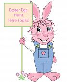 picture of buck teeth  - Easter Bunny holding egg hunt today sign - JPG