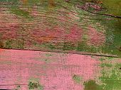 Green-pink Wooden Fence Background. Close-up Wall Or Floor Wooden Green Pink Plank Panel Or Board As poster