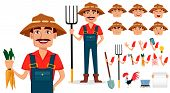 Farmer Cartoon Character Creation Set. Cheerful Gardener, Pack Of Body Parts And Emotions. Build You poster