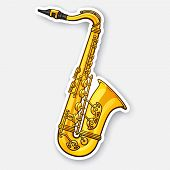 Vector Illustration. Classical Music Wind Instrument Saxophone. Blues, Funk Or Jazz Musical Equipmen poster