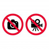 No Camera And Video Red Prohibition Signs. Taking Pictures And Recording Not Allowed. No Photographi poster