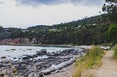 Deserted Beach In Hobart, Tasmania With Rocks And Walk Path In The Foreground On An Overcast Day Wit poster