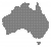 Dotted Australia Map. Vector Pattern Of Australia Map Created Of Circle Elements. Vector Geographic  poster