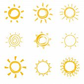 Hand Drawn Shining Sun Collection. Summer Heat Vector Doodle Sun Symbols. Illustration Of Sun Sketch poster