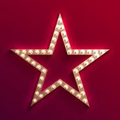 Hollywood Film Star With Light Bulb Marquee. Retro Gold Movie Frame. Casino Light Vector Sign. Star  poster