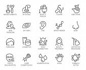 Cosmetology Line Icons Set. 20 Outline Pictograms Isolated. Beauty Therapy, Bodycare, Healthcare, We poster