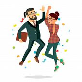Business Couple Jumping Vector. Man And Woman. Entrepreneurship, Accomplishment. Best Worker, Achiev poster