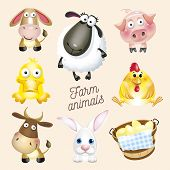 Farm Life. Cartoon Fun Farm Animals Set. Vector Illustration, Isolated On White Background Wich Text poster
