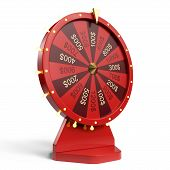 3d Illustration Red Wheel Of Luck Or Fortune. Realistic Spinning Fortune Wheel. Wheel Fortune Isolat poster