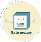 Safe Money Trendy Concept In Line Art Style. Banking And Finance, Ecommerce Service Sign, Business T poster