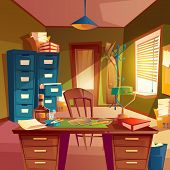 Vector Working Space Of Detective, Office Room Interior. Desktop, Cabinet, Bookshelves, Chair, Table poster