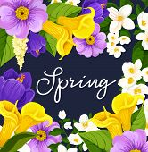 Spring Poster Design For Springtime Seasonal Holiday Wish. Vector Floral Bunch Frame Of Blooming Daf poster
