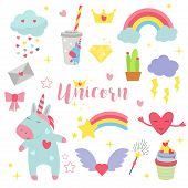 Cute Unicorn Baby Vector Illustration Magic Rainbow Fantasy Fairy Design Beautiful Fairytale Art. Fa poster