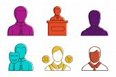 Politic Man Icon Set. Color Outline Set Of Politic Man Vector Icons For Web Design Isolated On White poster