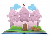 pic of pop up book  - 3D Illustration of a Castle on Popup Book - JPG