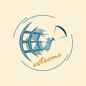 Emblem Of Extreme Sports. Extreme Tourism Around The World. Logo For Travel Agencies. The Paratroope poster