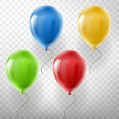 Vector Set Of Realistic Flying Helium Balloons, Multicolored, Red, Yellow, Green And Blue, Isolated  poster