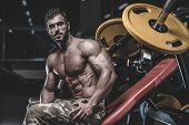 Handsome Model Young Man Training Chest In Gym poster
