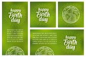 Template Square, Vertical, Horizontal Poster. Happy Earth Day Calligraphic Handwriting Lettering Wit poster
