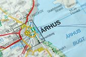 Arhus. Kongeriget Danmark. A Paper Map And Roads On The Map. poster