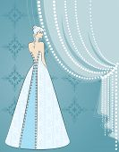Illustration of beautiful bride on blue background