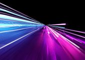Super Fast Trailing Lights In Bright Neon Colors. 3d Illustration poster