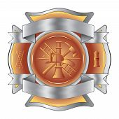stock photo of maltese-cross  - Illustration of a firefighter Maltese cross etched with fireman tools including axe - JPG
