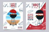 Bbq Party A4 Invitation Template. Summer Barbecue Weekend Flyer. Grill Illustration With Food Sketch poster