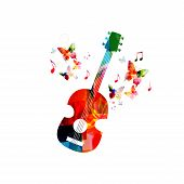 Music Colorful Background With Guitar. Music Festival Poster. Guitar Isolated Vector Illustration. M poster