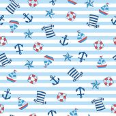 Sailor Stripe Nautical With Boat, Anchor, Float, Shirt. A Playful, Modern, And Flexible Pattern For  poster