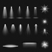 Set Of Light Sources, Lighting: Incandescent Lamps, Halogen Lamps And Fluorescent, Leds, Floodlight, poster