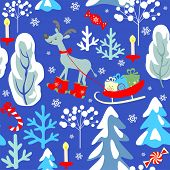Childish Christmas seamless winter pattern with snowy firs, trees, reindeer, sleigh with presents, c poster