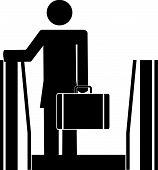 Stick Woman On Escalator W Briefcase. poster