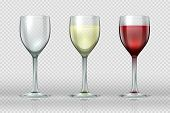 Realistic Wine Glasses. Wineglass With Red And White Wine For Gourmets. 3d Empty Isolated Glass Cup  poster