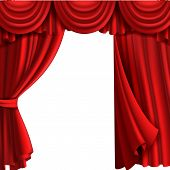 Curtain With Drape Stage. Theatre Fabric Red Curtains With Elegant Decor Drapes For Entertainment Vi poster