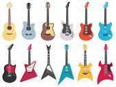 Flat Guitars. Electric Rock Guitar, Acoustic Jazz And Metal Strings Music Instruments. Musical Band  poster
