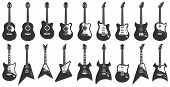 Black And White Guitars. Acoustic Strings Music Instruments, Electric Rock Guitar Silhouette And Ste poster