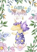 Cute Invitations For Baby Shower With Cute Unicorn, Its A Girl Cards, Can Be Used As Template For Gi poster