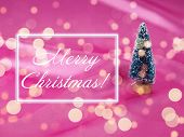 Christmas Tree On A Background Of Shiny Pink Satin As Background, Silk Background, Christmas Card. H poster