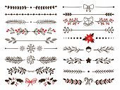 Hand Drawn Ornamental Winter Dividers. Snowflakes Borders, Christmas Holiday Decor And Floral Ornate poster